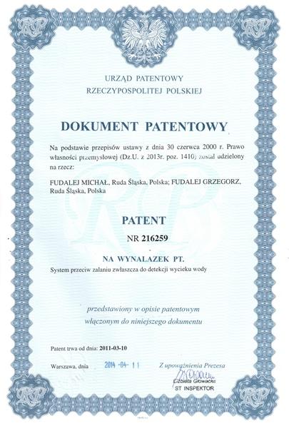 dokument patentowy - system przeciw zalaniu wodą